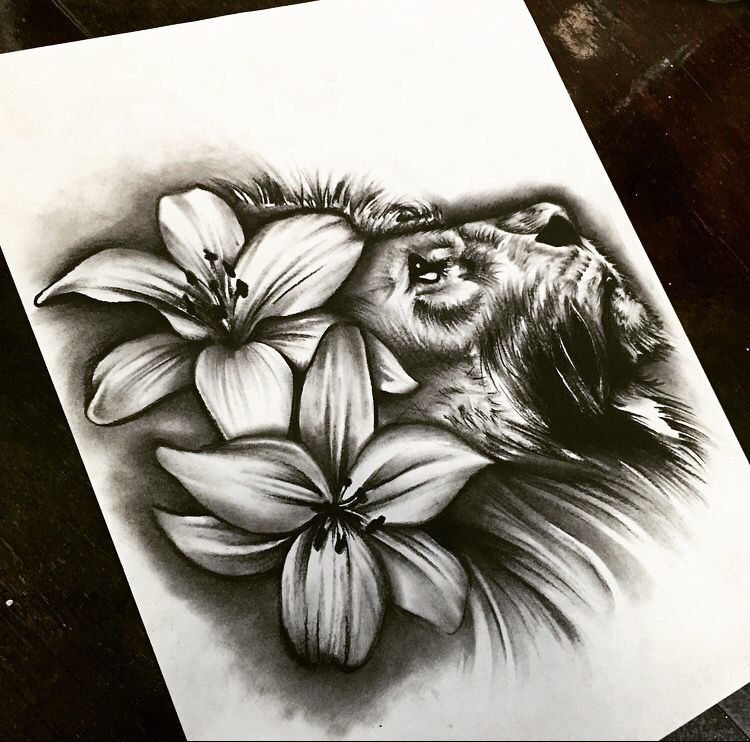 Lion And Lily Flower Tattoo Design Lily Flower Tattoos Flower Tattoo Designs Lillies Tattoo