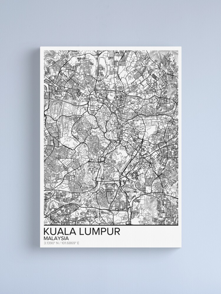 Kuala Lumpur Map Poster Print Wall Art Malaysia Gift Printable Home And Nursery Modern Map Decor For Office Map Art Map Gifts Canvas Print By Marzzgraphics Map Art Poster Prints Poster