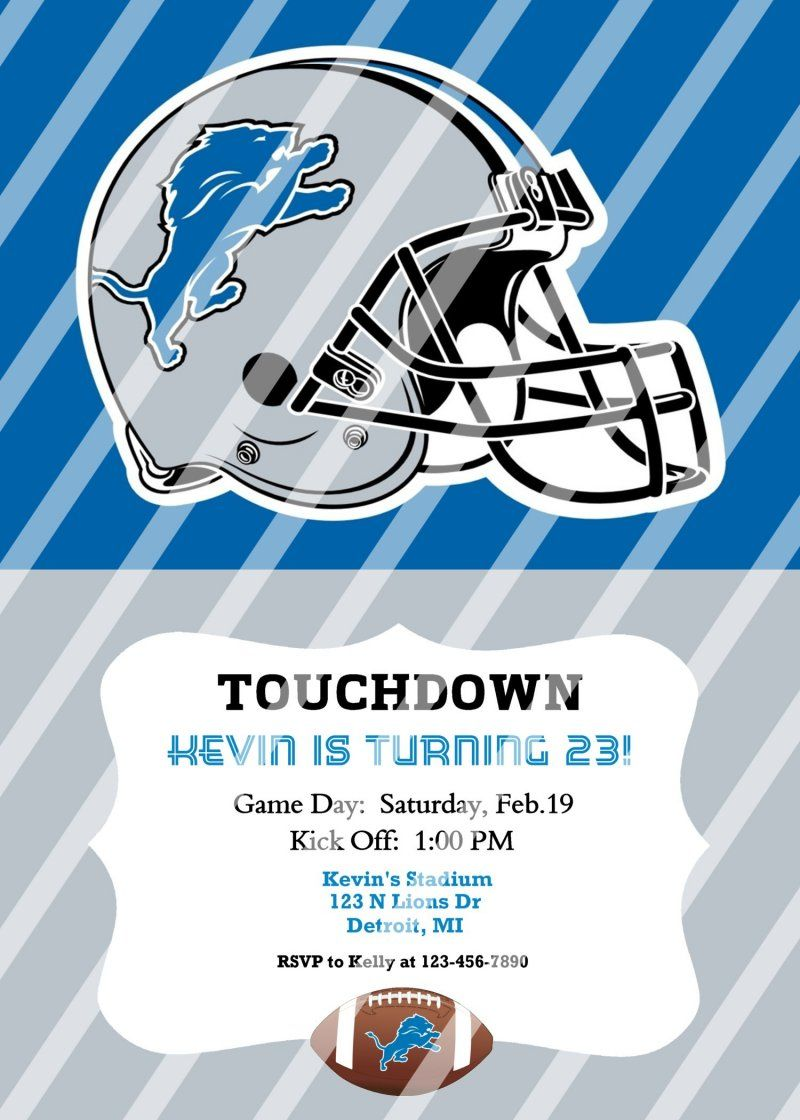 Detroit Lions Personalized Party Invitation #27 (digital file you ...