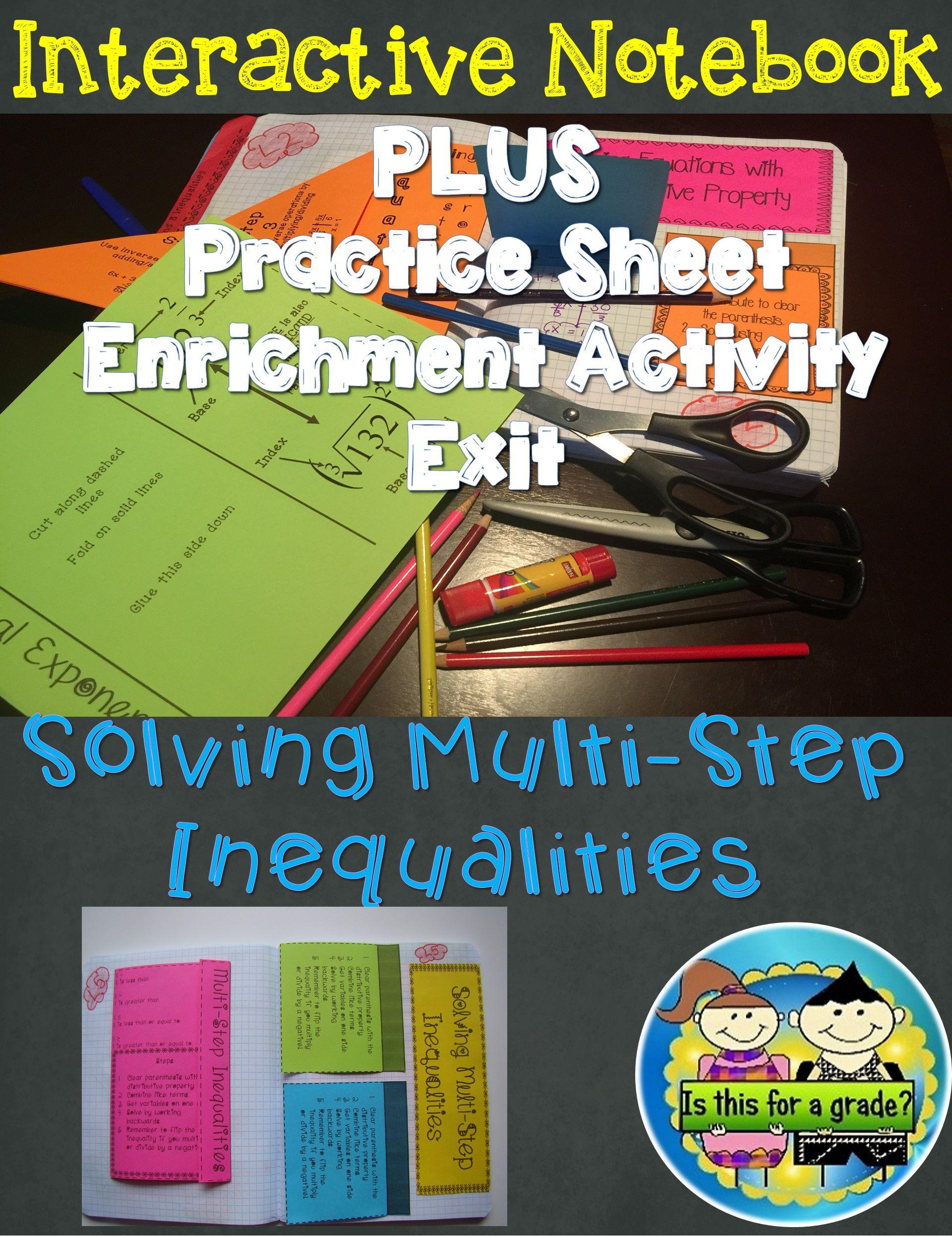 Multi Step Inequalities Foldable Inb Practice Amp Exit