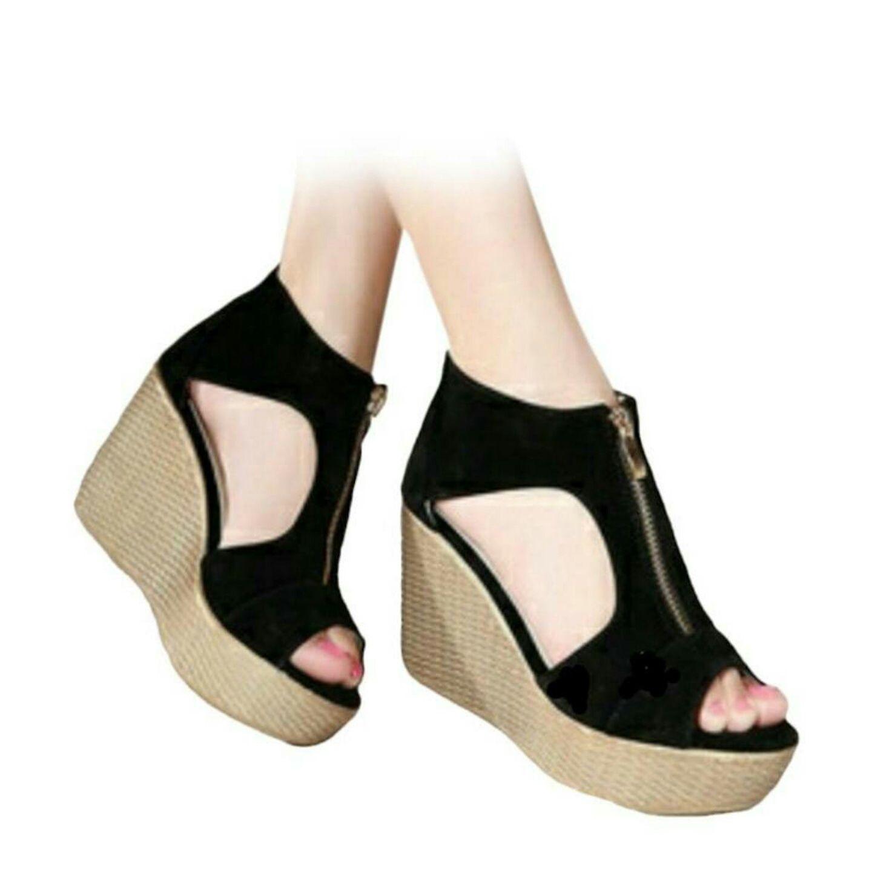 Sandal Wedges Wanita Alice Cream Murah Daftar Update Harga Terbaru Sonne Sc5006 Brown Premium Lady Comfort Leather Shoes Efata M71 Hitam