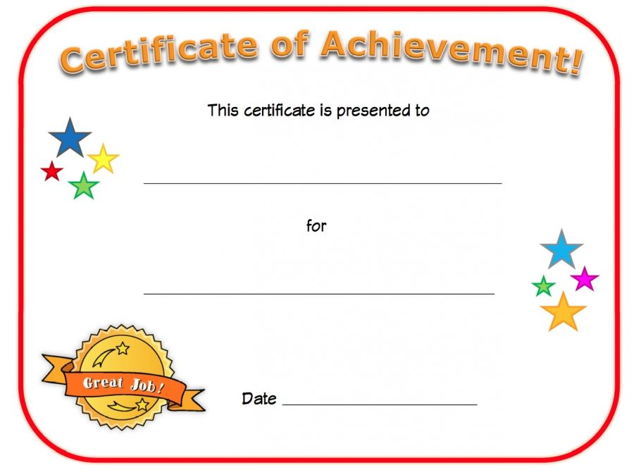 Certificate of achievement teaching resources pinterest blank certificate of achievement for kids fill in the details yourself to award a child for a specific achievement with a special certificate yadclub Images
