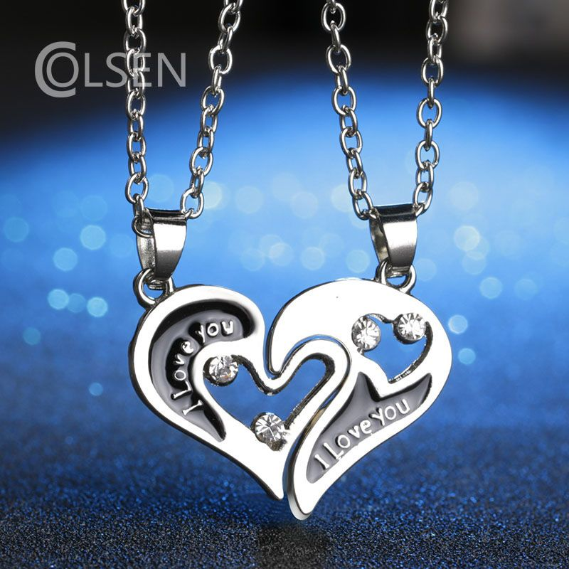 Colsen 2017 european style fashion black enamel heart shaped colsen 2017 european style fashion black enamel heart shaped necklace best friend gift jewelry broken aloadofball Choice Image