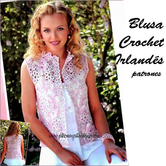 Patrones de blusa crochet irlandes | blusas | Pinterest | Patrones ...