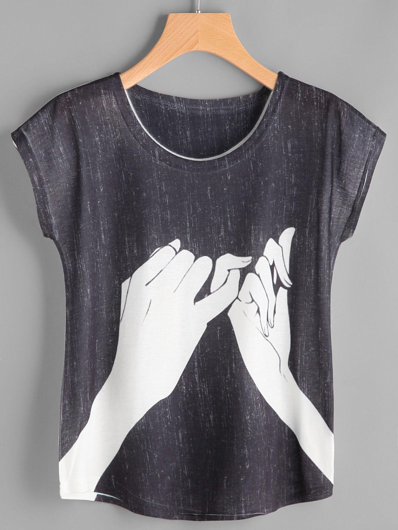 7b8d9414b4 Camiseta estampada de mano de manga de casquillo-Spanish SheIn(Sheinside)