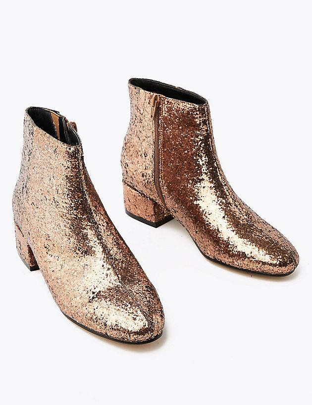 Glitter Low Block Heel Ankle Boots | M
