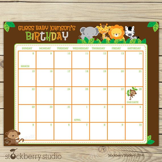 Infant Calendar Ideas : Safari guess the due date calendar printable birthday