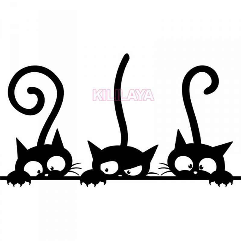 Stickers Three Kittens Cats Vinyl Wall Sticker Mural Fridge Wall