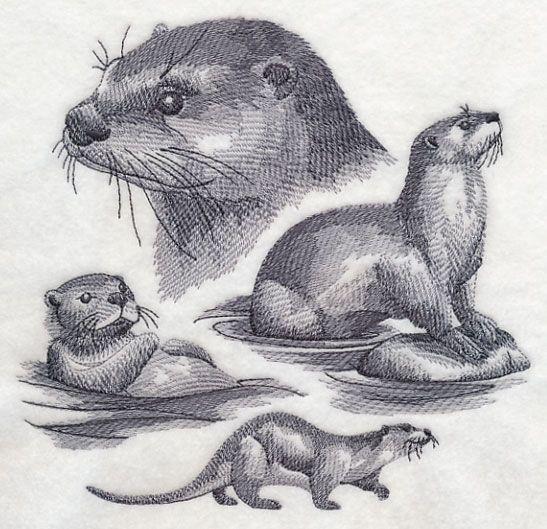 Otter Sketch | Machine Embroidery/cross stitch | Pinterest | Hexe ...