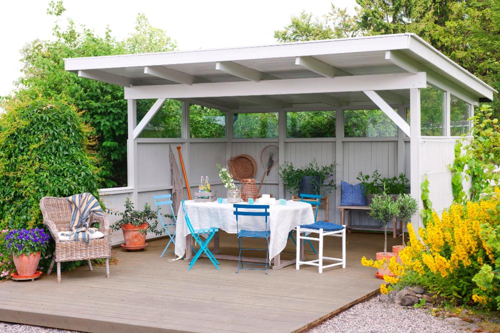Photo of uteplass med takhjørne i hagen – Google Søk
