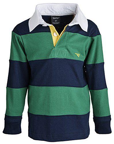09a8aa5037eb Sportoli Boys 100 Cotton Wide Striped Long Sleeve Polo Rugby Shirt ...