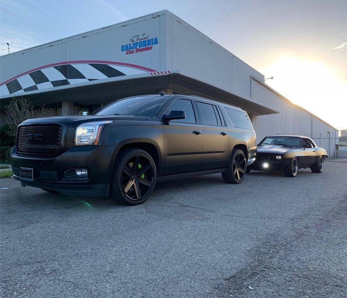 Yukon Denali Xl Satin Black Wrap Black Custom Wheels Buick Gmc
