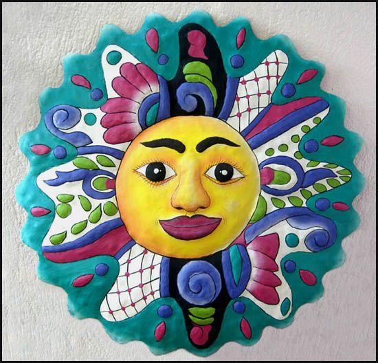 Sun Wall Hanging - Hand Painted Metal Outdoor Garden Art - 24 ...