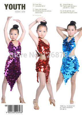 9d10899999fac Enfants   filles costume de danse latine jupe de danse fille robe de danse  latine enfants de danse de performance robe 2 couleurs livraison gratuite