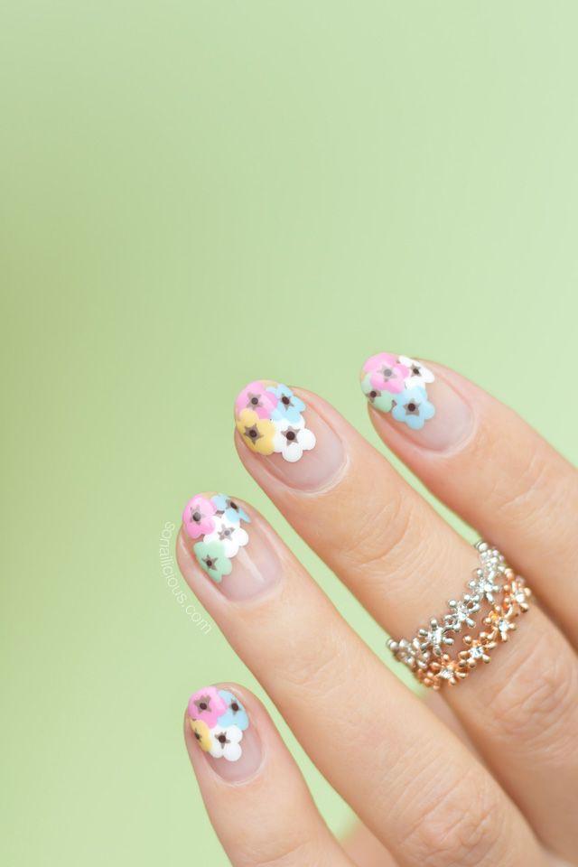 Negative Space Floral Nail Art [TUTORIAL] | Diseños de uñas, Uñas ...