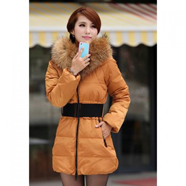 70.22$  Watch now - http://di4ol.justgood.pw/go.php?t=YM2308006 - Casual Stand Neck Plus Size Faux Fur Collar Long Sleeves Thicken Warm Eiderdown Women's Coat