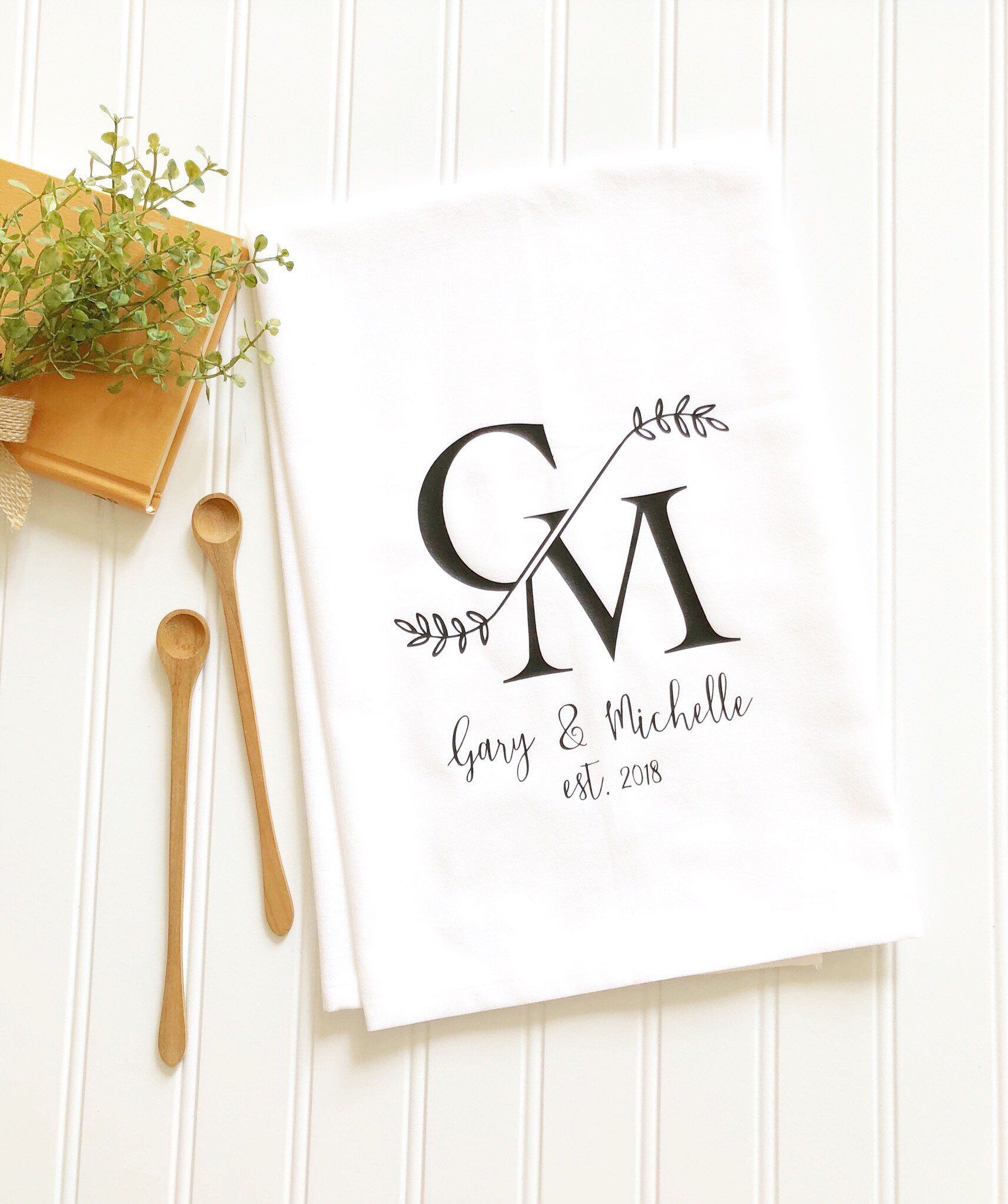 Embroidered Towels For Wedding Gift: Wedding Tea Towel Personalized Tea Towel Gift For