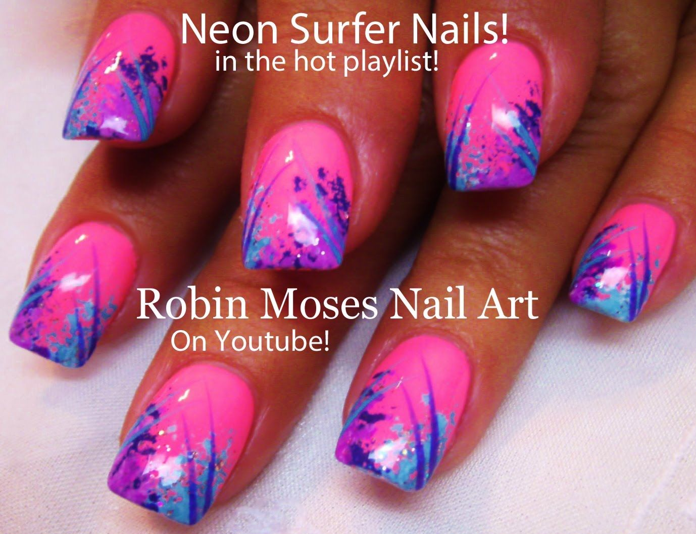 Easy Nail Art For Beginners! | DIY Nail Design | Sponge Surfer Nails ...