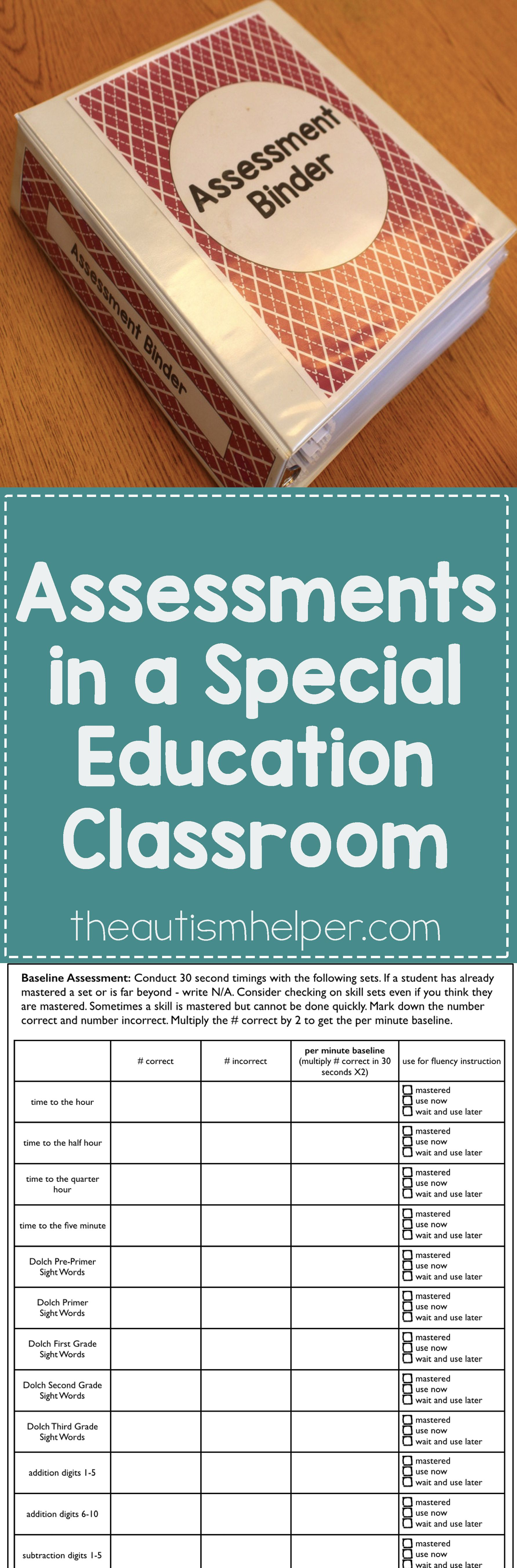 Assessments In A Special Education Classroom
