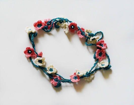 Crochet Necklace Pattern Crochet Flowers Necklace Pattern Crochet