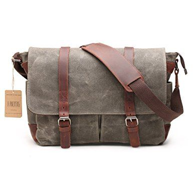 5abce499f28f H-ANDYBAG 15 Inch Shoulder Laptop Bag Waxed Canvas Messenger Bag for ...