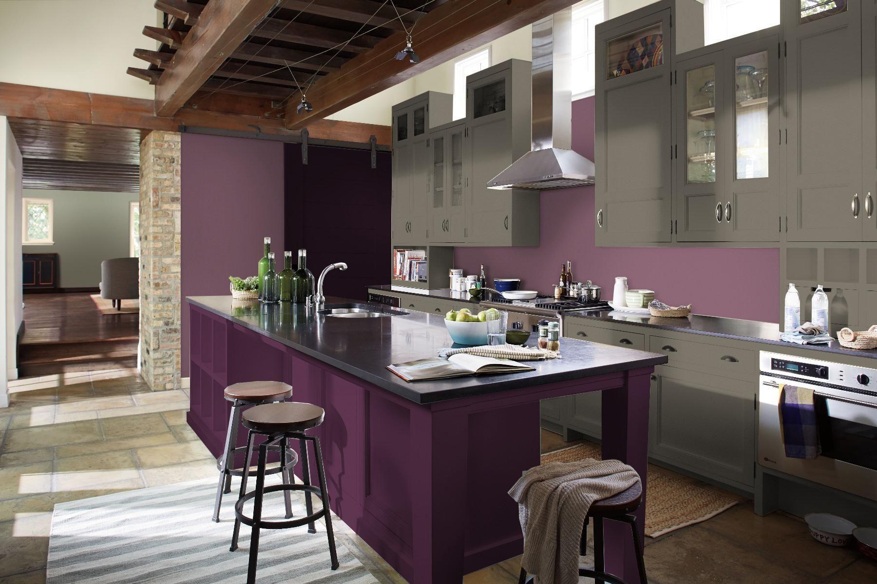 Dark Grey Cabinets With Deep Purple Island Med Purple Walls Purple Kitchen Purple Kitchen Cabinets Teal Kitchen Cabinets