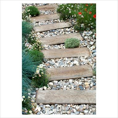 Path With Wood Sloped Garden, Garden Path Coverings