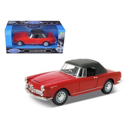 1960 Alfa Romeo Spider 2600 Soft Top Red 1/24 Diecast Car