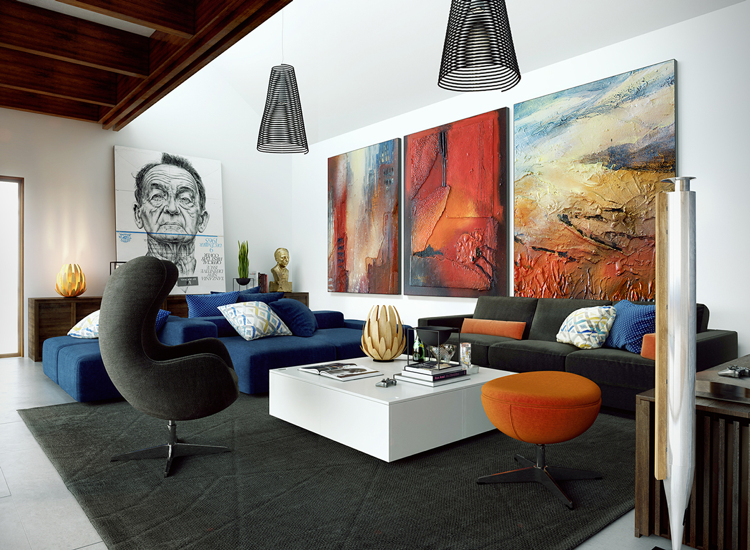 Glasbilder Wohnzimmer ~ Großformatige surrealistische bilder im wohnzimmer interior