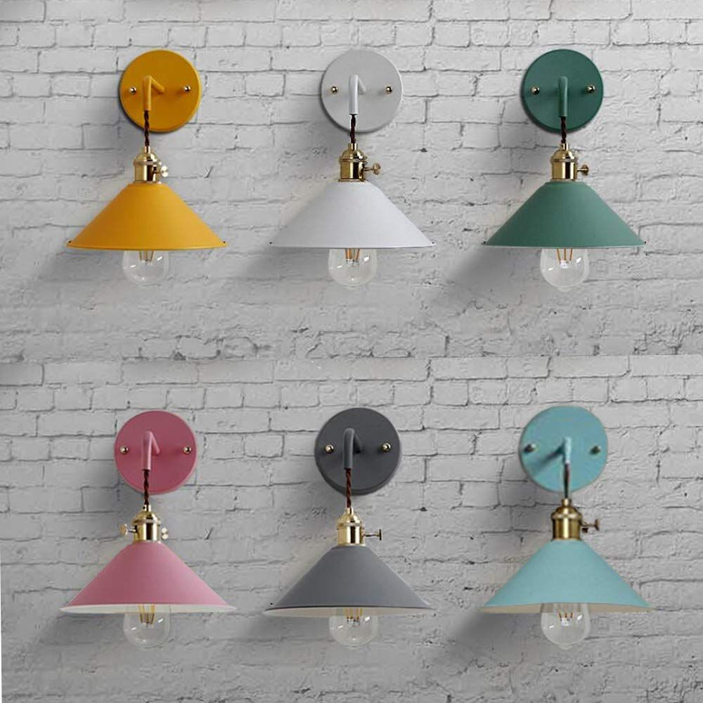 Amazon Com Plug In Dimmable Wall Sconce Lamps Lighting Fixture Within Line Cord Dimmer Switch Bule Macaron Wall Lamp E26 Lamp Holder Copper Lamps