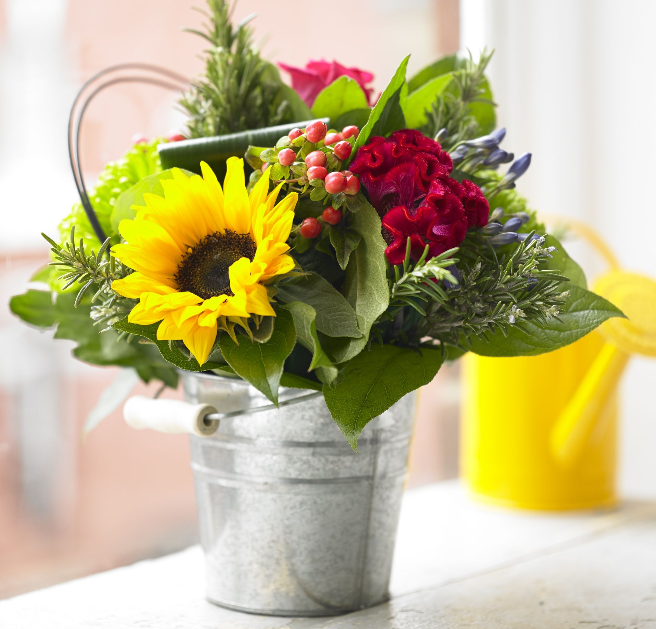 Garden Collection Sunflower Bloom Bucket Flower Studio Shop Summer Flowers