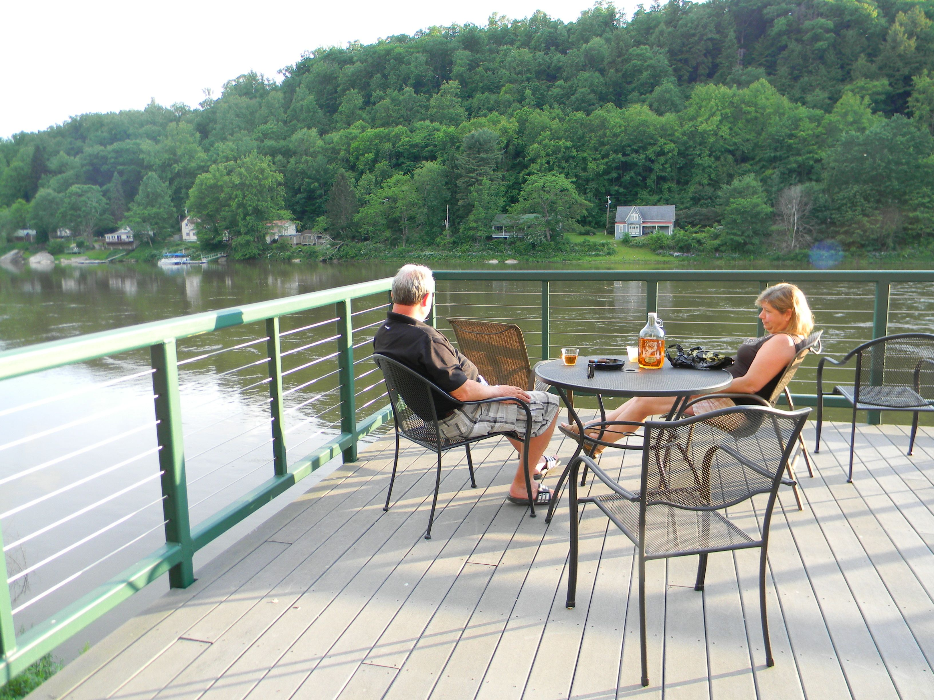 Guests Relaxing On The Riverdeck With Some Foxburg Winery Wine