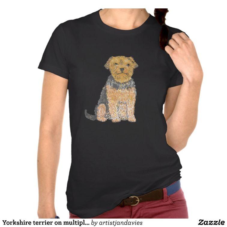 Yorkshire terrier on multiple products add text, tshirt  zazzle.com/artistjandavies*