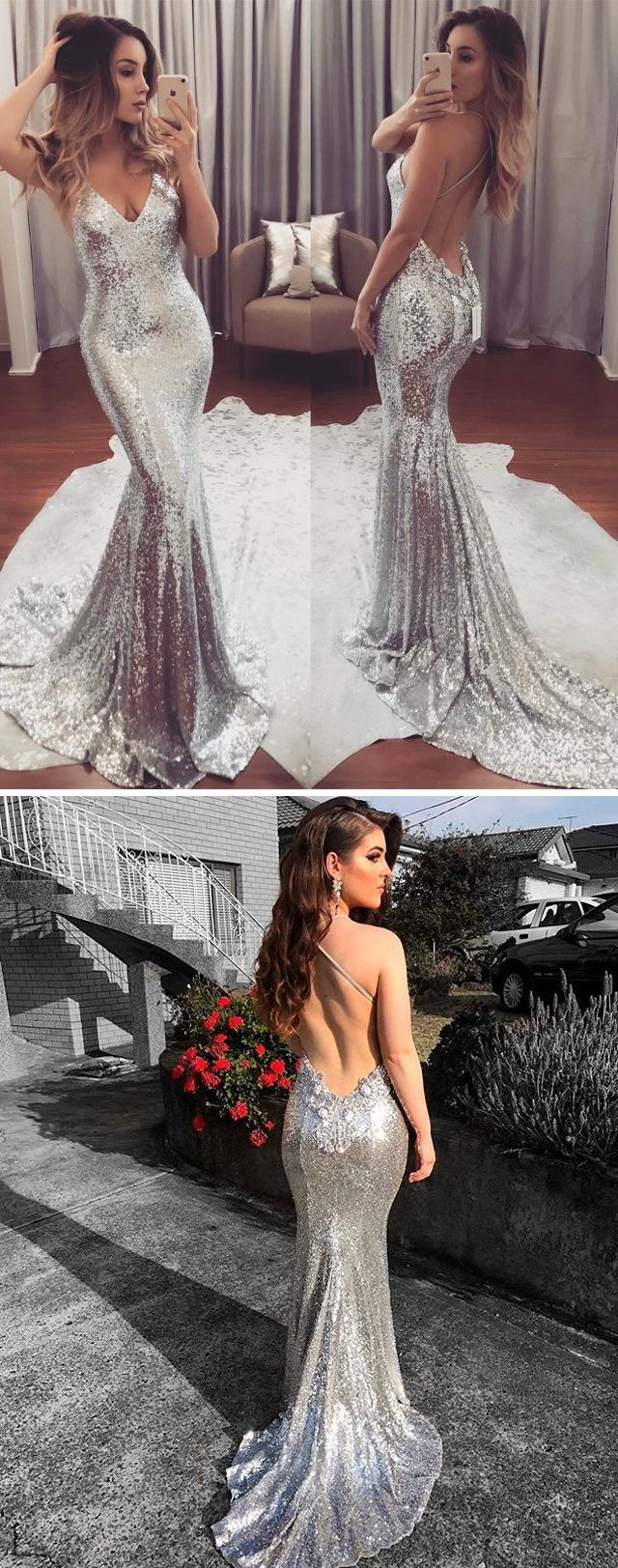 Sexy silver sparkly sequins v neckline prom dresses with long train