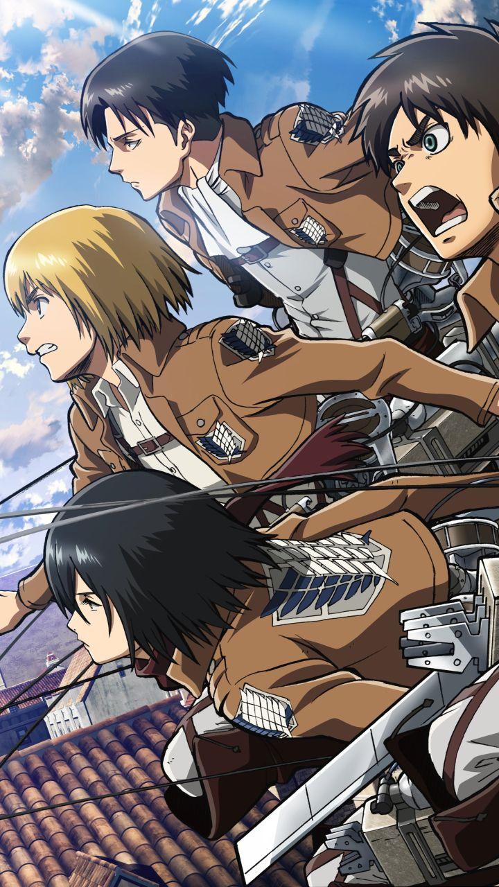 Remove wallpaper in five steps! Armin, Levi, Eren & Mikasa in 2020   Attack on titan anime ...