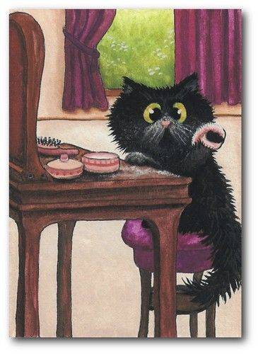 Powder My Nose Cat Artwork Black Cat Art Cats Illustration