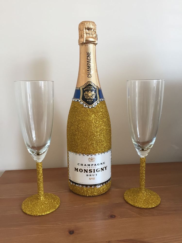 mod podge gold glitter champagne bottle and glasses