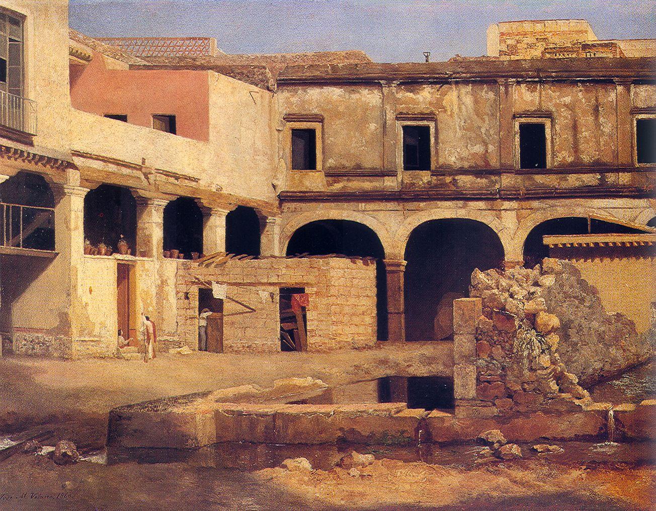 José María Velasco, El Patio De San Agustín, 1862, óleo Sobre Tela (