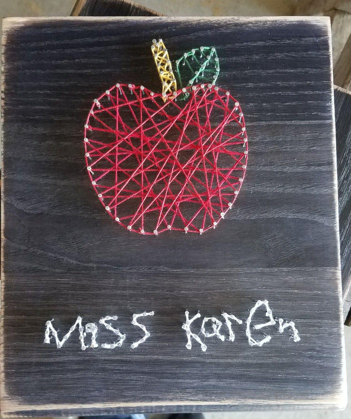 String Art Apple For Teacher With Child S Handwriting Preschool Stringart Apple Teacher Ts