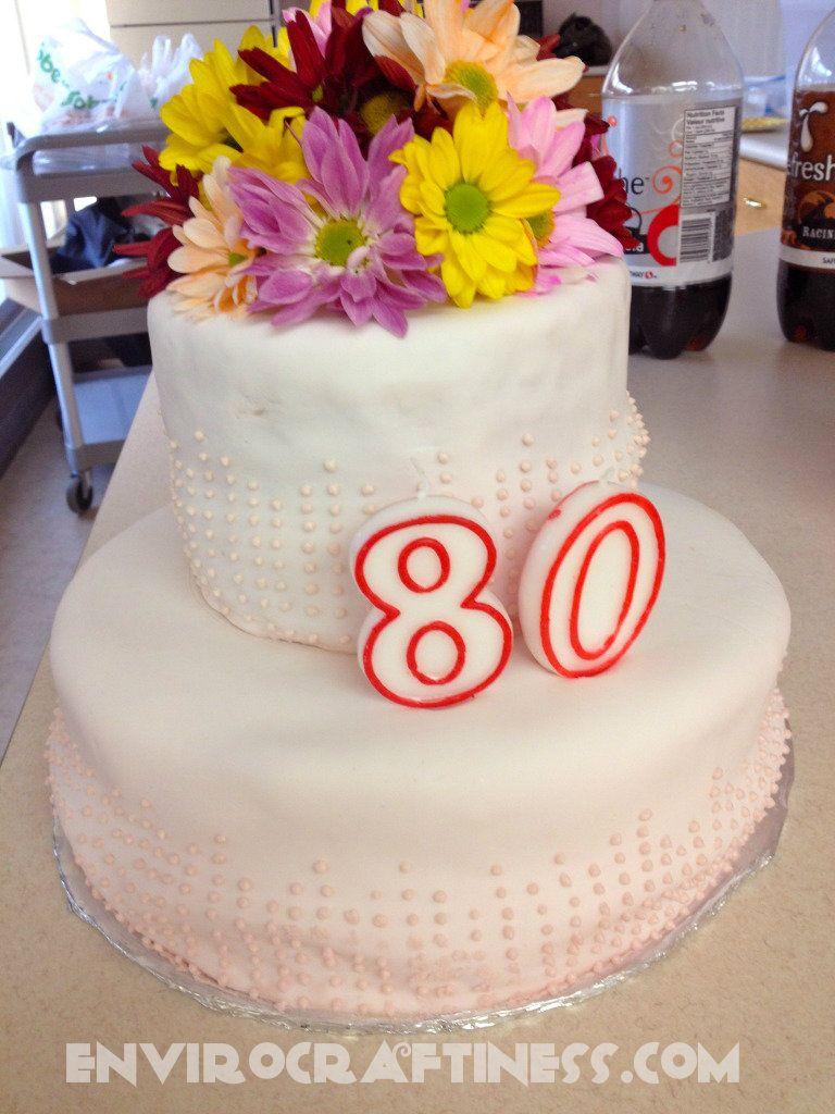 80th birthday cake fondant buttercream dots fresh flowers 80th 80th birthday cake fondant buttercream dots fresh flowers izmirmasajfo Images