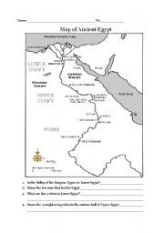 English worksheet: Ancient Egypt map | Projects to Try | Ancient