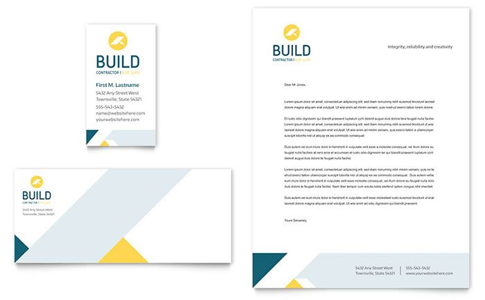 Contractor Business Card and Letterhead Template Design by - free business stationery templates for word