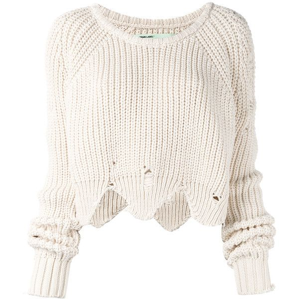 Off-White distressed sweater (€860) via Polyvore featuring tops und sweaters