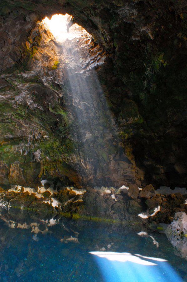Salt-water lagoon of Jameos del Agua, Arrecife, Lanzarote ...