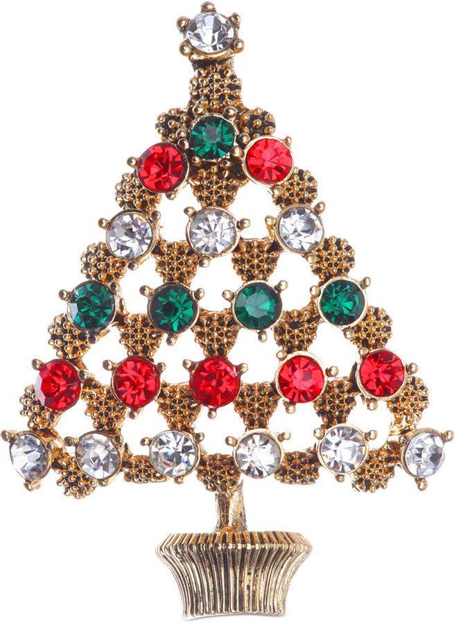 Jones New York Gold-Tone Christmas Tree Pin on shopstyle.com