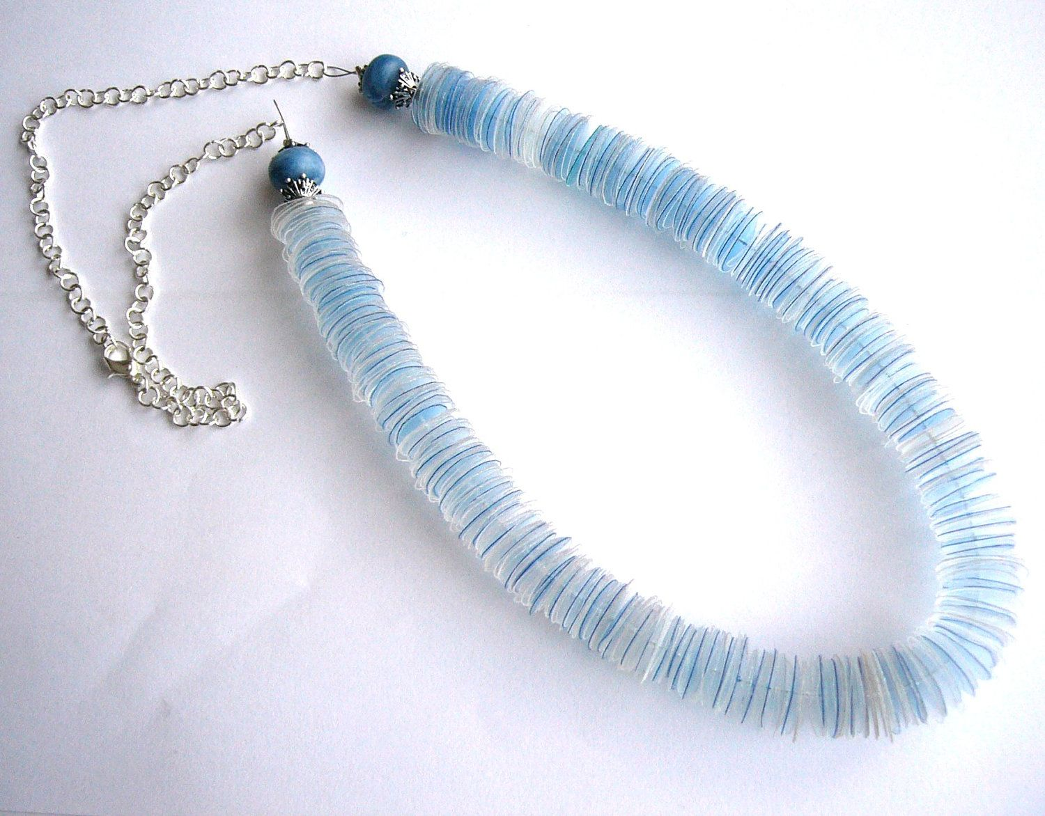 Plastic Bottle Recycling Part - 45: Recycled Plastic Bottle Blue Necklace Upcycled Jewelry - Agua Mineral -  With Chunky Blue Beads And