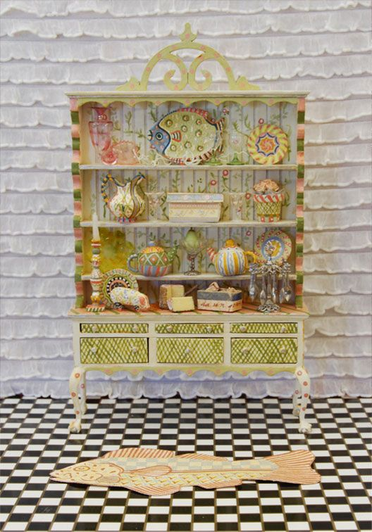 Miniature intricately painted hutch by Rainbow Hand