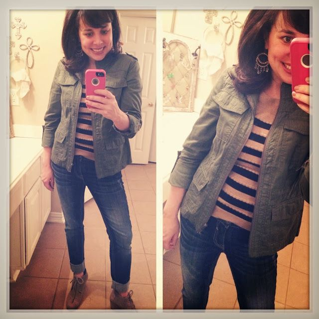 stripes and a military jacket!  and wedge TOMS!  love this combo so much!