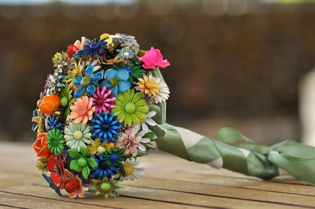 Micro Wedding Brooch Bouquet - Bright colored flowers, pink, green ...