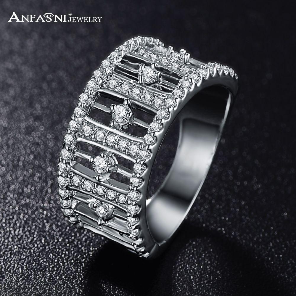 Anfasni san valentino anelli di lusso con l'alta qualità placcato oro aaa zircone cubico anelli unisex gioielli cri0017